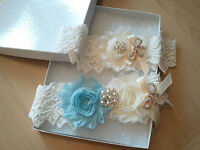 Wedding garter, Bridal Garter Set - Ivory Light Blue Shabby Flower Garter Set