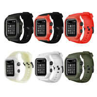 for Apple Watch Series 4 3 2 1 Waterproof Case Cover 44mm/42mm Silicone Strap
