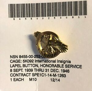 WWII Ruptured Duck (Honorable Discharge) Vintage Lapel Pin   AWD-0104