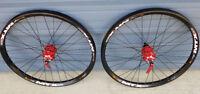 "24"" black disc bike wheels Sun MTX33 red anodized sealed hubs 6 bolt disc only"