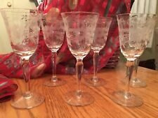 Vintage Etched Wreath and Flower Crystal Cordial or Small Wine Glasses, Set of 6