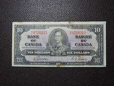 1937 $10 Dollar Bill Bank Note Canada M/D 4726211 Gordon - Towers VF Grade