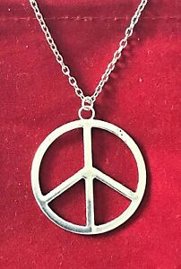 LARGE 42x40mm Peace/CND Necklace ~ UK Buyers FREE Post ~ ONLY £3.75