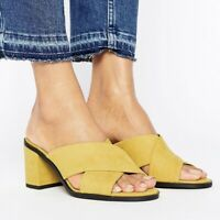 New Look Suedette Yellow Cross Strap Heeled Mule Slip On Shoes Sandals Size UK 6