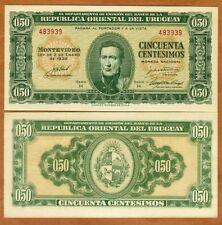 Uruguay, 50 Centesimos, L. 1939 P-34, Fractional Denom., UNC