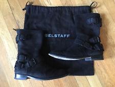 BELSTAFF Mens Black Suede Moto Boots 40 8 Back Zip