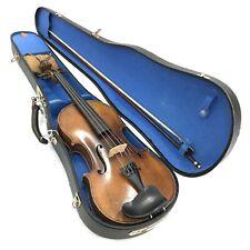 More details for vintage cased violin + bow musical string instrument st. christopher fob 253034