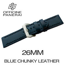 • 26mm Blue Chunky Leather Bracelet / Strap With Buckle For Officine Panerai •
