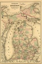 Railroad map of Michigan c1874 map 20x30