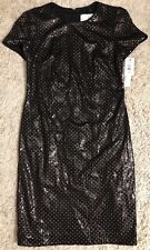 NICOLE MILLER black gold sequin short sleeve evening dress sz 6 Small S Nwt