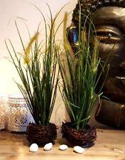 2er SET Kunstpflanze Künstliche Pflanze Gras Grasbüschel Kunstgras Dekogras NEU