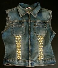 Gold Studded Denim Vest- Custom Studs- Women's Punk Rock Coat- Rock N' Roll Wear