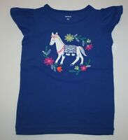 New Carter's Horse Embroidered Flutter Sleeve NWT 2t 3t Girls Top Blue Summer