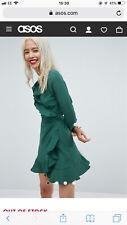 asos green beautiful wrap dress uk6