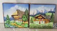 2 ANTIQUE  MAJOLICA TILES ART NOUVEAU  chalet village trees landscape german