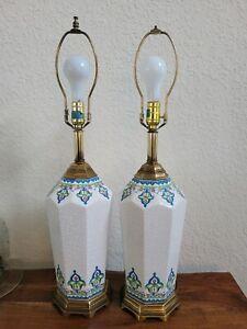 Pair Vintage Westwood Painted Italian Majolica Ceramic Table Lamps Blue White