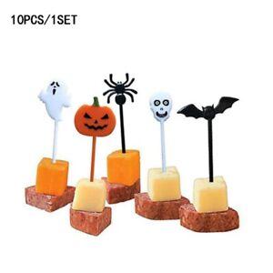 10Pcs Fruit Halloween Theme Food Sticks Cake Topper Cake Insert Party Supplies !