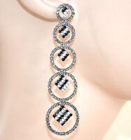 ORECCHINI GRIGIO NERI strass pendenti cerchi donna cristalli eleganti L15