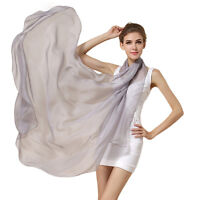 Oversized Solid Color Pure Silk Scarf Women Spring Echarpe Smooth Summer Wrap