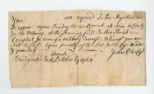 1764 Capt Isaac Otis, Militia Duty Form Template, Training Order, Bridgewater Ma