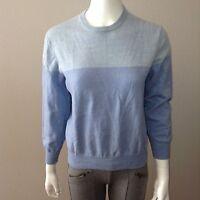 Calvin Klein Sweater Size M Medium Womens Top 100% Wool Blue 3/4 Sleeve Crew