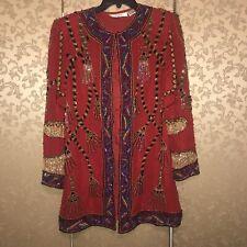 I. MAGNIN Vintage RARE Red Tassels Sequin Beaded Evening Long Jacket XL