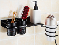 Bathroom Accessory Spiral Blow Stand Hair Holder Dryer Rack With 2 Storage Cups