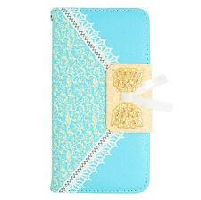 Lite Blue Lace Pattern Wallet Pouch Case For LG Ultimate 2 L41C (Straight Talk)