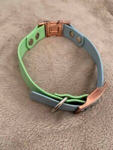 """Blue And Green Biothane Dog Collar, 16""""-18"""", Worn A Couple Times"""