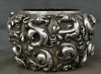 "6.4"" Xuande Marked Old China Dynasty Silver Feng Shui Pixiu Dragon Beast Jug Jar"