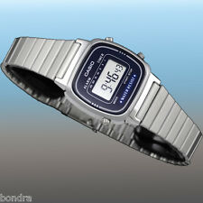 Casio Ladies Blue Digital Classic Vintage Silver Steel Band Watch LA670WA-2D New