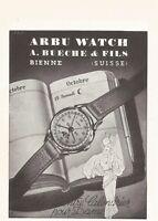 vintage 1953 small print ad ARBU Swiss Suisse watch movement MID CENTURY ART