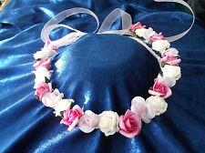 Pink/Cream  Flower Circlet - Wedding Halo, Flower Girl - by Valerie J