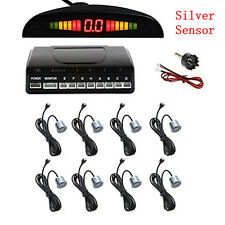 Silver 8 Parking Sensors Car SUV Reverse Front&Rear Sound Alarm Radar System Kit