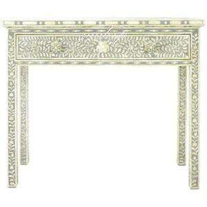 Handmade Bone Inlay Grey Console Table