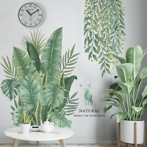 Removable Nursery Tropical Leaves Foliage Hanging Vine Wall Decals DIY Nice Fun