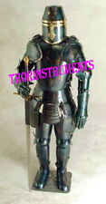 Antique Black Medieval Knight Crusader Full Suit of Armor Halloween Costume