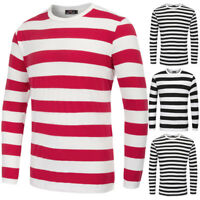 2019 Men's Stylish Casual Striped Long Sleeve Crew Neck Cotton T-Shirt Tops Tee