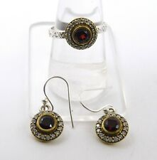 6.50 Gm Natural Garnet Ring & Earring Two Tone Set 925 Sterling Silver 1'' M-427