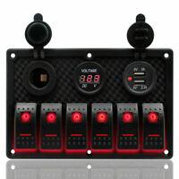 6Gang Rot LED Schaltpanel Schalter Schalttafel Voltmeter + 2USB 12-24V Boot Bus