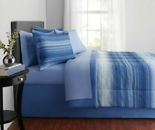 Mainstays Ombre Stripe Microfiber Reversible Bed-In-A-Bag, Queen 8-Pieces Sleeps