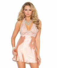 Sexy Lingerie Peach Small S Women Babydoll Lace Satin Halter Low Back Panty Set