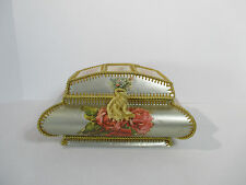 Victorian Jewelry Box Mirror Sewn from Cards Pictures Silver Roses Gold Braid