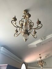 Brass and Crystal Traditional Chandelier Fancy Gold Colored Large Chandelier