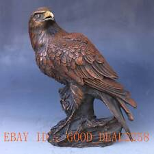 Chinese Bronze Handwork Carved Eagle Statue w Ming Dynasty Mark