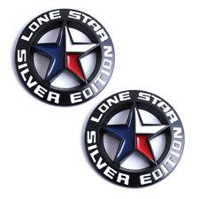 2x Black LONE STAR SILVER EDITION Emblem Truck Badges Nameplate Universal