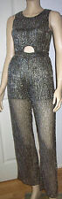 MISS SELFRIDGE Black Gold Shimmer Cut Out Front Sleeveless Jumpsuit Size 6