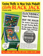 BLACKJACK Original SS PROMO Pinball Machine Flyer 1977 BALLY Brochure Ad Slick