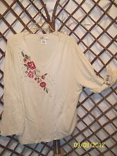 K-I-K-I T womens embroidered and sequin top long sleeve  size XL NWT B6