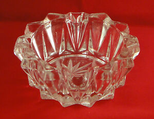 Lovely Vintage Deep Round Cut Heavy Glass Ashtray - Cigar & Cigarette Rests